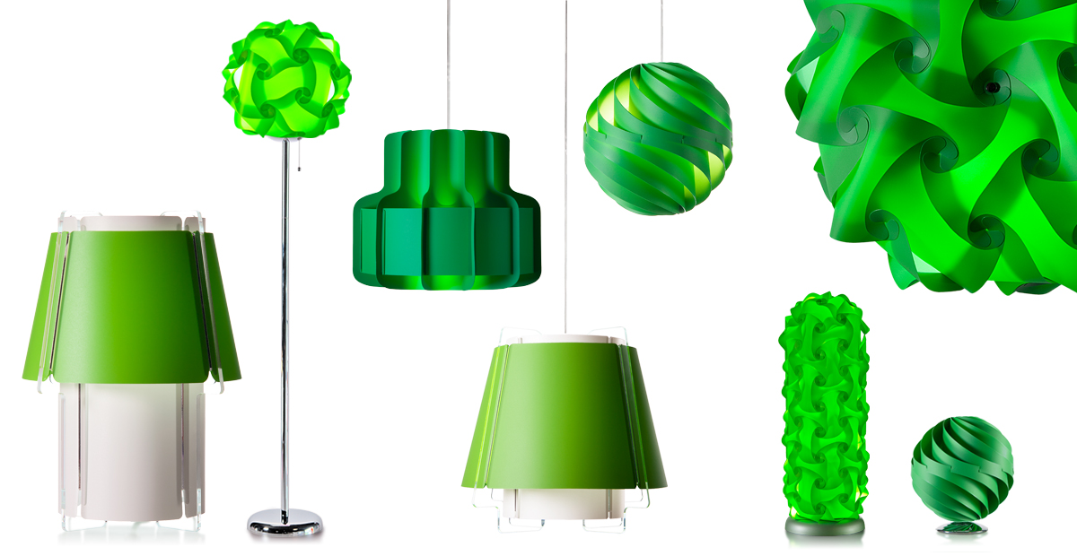 Take a look at lujan + sicilia lamps and lampshades in green and lime green hues resembling Pantone Greenery 15-0343